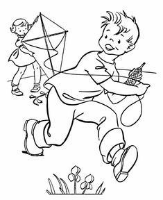 Spring Coloring Pages - Kids Spring Flying a Kyte Coloring Page