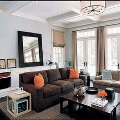 dark browns, pale blues, natural lighting <3 could definitely work with our living room furniture