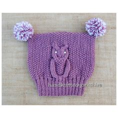 Hand Knitted Child's T-Bag Hat Owl Design by HandKnittedYorkshire