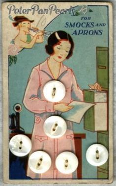 """(::) """"Peter Pan Pearls"""" """"For Smocks and Aprons"""".  On the factory button card.  Office worker with a candlestick telephone on her desk!  {Thanks extended to kaboodle for the image. Research and original description as pinned by DiaNNe W. - """"Vintage Button Cards (::) WORKERS"""""""
