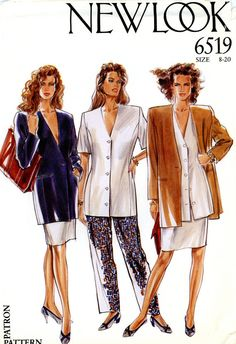 Sewing Pattern - Misses 1990s Jacket, Blouse, Skirt, and Trousers, New Look 6519 Sizes 8-20 Bust 31 1/2-40