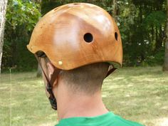 Wooden bicycle helmets