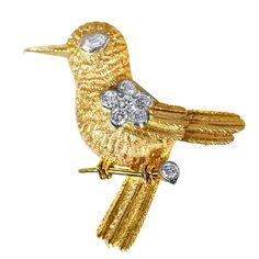 Vintage Cartier Diamond Gold Bird Brooch | From a unique collection of vintage brooches at https://www.1stdibs.com/jewelry/brooches/brooches/