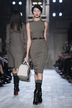 So sexy ... right down to the boots and calf socks. From Victoria Beckham RTW Fall 2012 Collection.