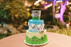 Ben and Jerrys cake - photo by Lauren Fair Photography http://ruffledblog.com/rustic-elegance-at-the-horticulture-center