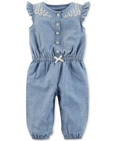 Image 1 of Carter's Embroidered Chambray Cotton Jumpsuit, Baby Girls
