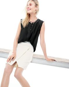 MAY '15 Style Guide: J.Crew women's sleeveless drapey popover top and crossover wrap skirt.
