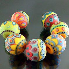 PIKALDA=handmade lampwork 7 glass beads colorful vivid=CARNIVAL=SRA