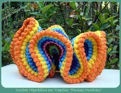 EU TAMBÉM CROCHETO...: Uma experiência de Crochet Hiperbólico em Trapilho...nice hyberbolic crochet in T-shirt yarn, pictures only.