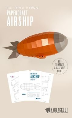 Submarine Papercraft Papercraft Steampunk Airship Build Your Own Low Poly Paper Model - Printable Papercrafts Zeppelin, Steampunk Ship, Rockets For Kids, Cool Paper Crafts, Origami Templates, Toy Craft, Paper Models, Low Poly, Carton Design