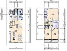 28坪北入り2.5間間口3LDK ローコスト住宅 間取り、プラン Narrow House Designs, Narrow House Plans, House Floor Plans, Japanese Modern House, Craftsman Floor Plans, Social Housing, Second Floor, Flooring, How To Plan