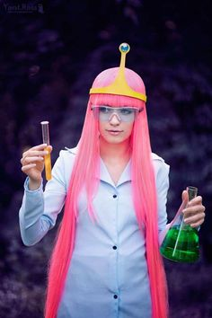 Princess Bonnibell Bubblegum from Adventure Time doing what she does best; Science! My costume this year!