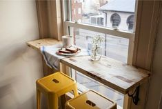 Small Space Window Bar And Stools.
