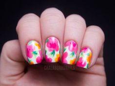 Floral Nails Luau-esque