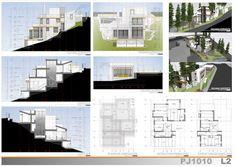 Casas en pendiente: 17 ejemplos de cómo adaptarse a un terreno inclinado - AboutHaus Houses On Slopes, Architectural Section, Modern Architecture House, House Plans, Home Improvement, Multi Story Building, Floor Plans, Exterior, House Design