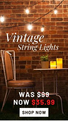 For a limited time only, enjoy vintage inspired outdoor string lights for almost 65% off their original price. Vintage String Lights, String Lights Outdoor, Vintage Lighting, Outdoor Cabana, Cafe Style, Vintage Inspired, How To Memorize Things, Bulb, Neon Signs