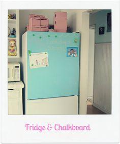 Shabby Vintage Mom: chalkboard fridge!