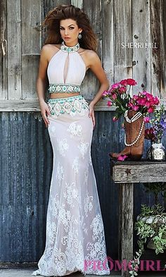 Long Ivory High Neck Two Piece Dress by Sherri Hill at PromGirl.com