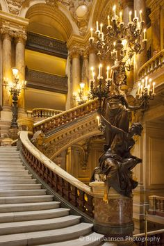 Interior of Palais Garnier - Opera House, Paris France. This looks like the architecture in Phantom of the Opera! Baroque Architecture, Beautiful Architecture, Paris Opera House, Little Paris, Le Palais, Paris Ville, Stairway To Heaven, Stairways, Monuments