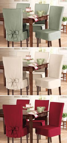 Red chair covers for the dining room Chair Back Covers, Dining Room Chair Covers, Dining Chair Slipcovers, Dining Room Chairs, Chair Upholstery, Seat Covers, Dining Table, Diy Home Decor, Room Decor
