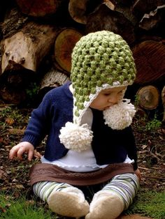 Christmas Green Organic Crochet Pom-Pom Baby Hat by TayuhTate