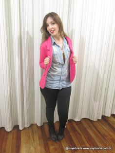 Vivy Duarte: Look do Dia: Blazer Pìnk e Camisa Jeans