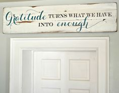 Gratitude Wood Sign customizable - Aimee Weaver Designs (www.) customized to say God bless this home and all who enter in brown tones with white background. Pallet Crafts, Pallet Art, Pallet Signs, Wood Crafts, Diy Crafts, Pallet Painting, Painted Signs, Wooden Signs, Hand Painted