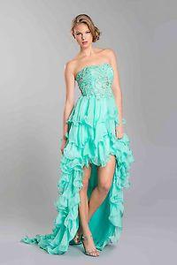 Strapless Sparkle Design High Low Ruffle Prom Dress Plus Sizes Train Flirty Gown   eBay