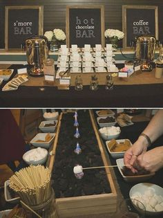 Or a s'mores bar with coffee and hot cocoa to warm up at winter ones:   23 Brilliant Wedding Bars From Couples Who Dared To Dream