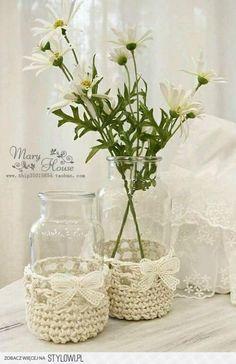 Crochet Vase – Knitting and crocheting Crochet Vase, Crochet Cozy, Love Crochet, Crochet Gifts, Diy Crochet, Support Bougie, Crochet Jar Covers, Decoration Shabby, Crochet Home Decor