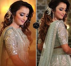 Wedding Reception Hairstyles, Curly Wedding Hair, Indian Wedding Hairstyles, Retro Hairstyles, Trending Hairstyles, Elegant Hairstyles, Loose Hairstyles, Party Hairstyles, Hair To One Side