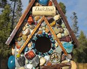 I'm thinking DIY fairy house for Liv to make for the garden. Love the stones. Mosaic Garden Art, Mosaic Art, My Fairy Garden, Fairy Gardens, Recycled Wine Corks, Birdhouse Designs, Gnome House, Fairy Houses, Doll Houses