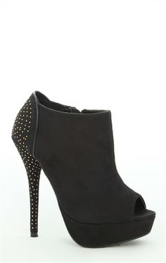 Platform Bootie with Peep Toe and Pinhead Studs on Back