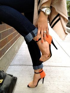 These shoes!!!! I LOVE!!!  #orange #strappy #heels