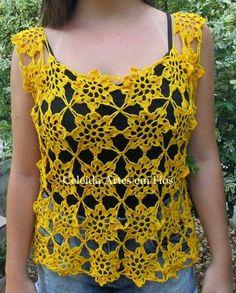 Celeida Artes em Fios: Blusa de crochê estilo croppd rendada!