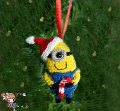 Crocheted Despicable Me Minion christmas by CaitsCrochetedDolls