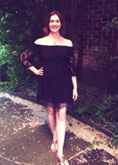 Bardot off the shoulder dress, black lace with pretty trim and tassels from Mango at House of Fraser.