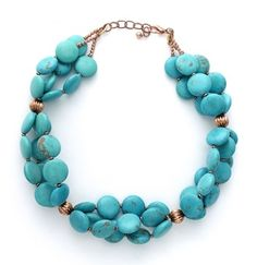 Turquoise statement necklace.  Find more projects on BeadStyleMag.com