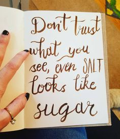 Tried bouncing lettering. Took like 4 tries and my I have hand tremors today but it\'s okay! #practicemakesprogress #letteritjanuary #letterit #letter #lettering #calligraphy #typography #handlettering #handletters #salt #sugar #quote #quotes #thyroidproblems #anxiety #anxietydisorder