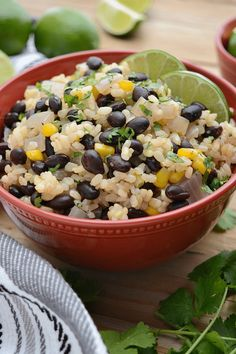 30 minute Black Beans and Lime Rice. Seasoned beans mixed with cilantro-lime rice. A great weeknight dinner and leftovers make for an ideal lunch! vegan, gf