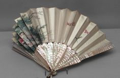 American Victorian Decorative Hand Fan With Mother-Of-Pearl And Silk Painted Scene