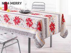 Szary obrus na stół ozdobny w czerwone kwiaty