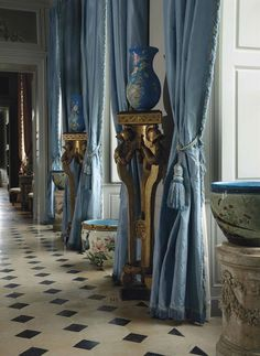 Drapes CurtainsDenim CurtainsDraperyIn DesignCastle InteriorsFrench ChateauFrench BlueFrench ...