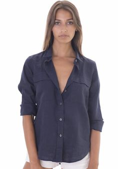 CAMIXA Women's Linen Casual Button-down Two Pockets Long Sleeve Shirt XS Blue