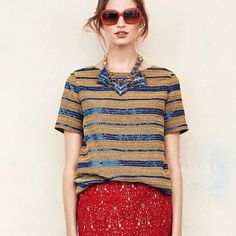 Tory Burch Theresa Top Hand applied woven beads and contrast sequins Crewneck Solid back Tory Burch Tops