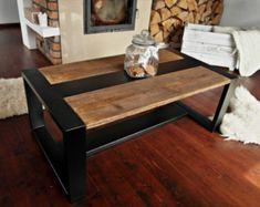 Mesa Industrial de acero negro y madera recuperada rústico hecho a mano