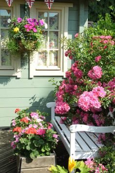 Cottage bench and flowers