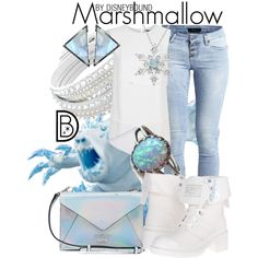 Marshmallow by leslieakay on Polyvore featuring BCBGMAXAZRIA, Object Collectors Item, MARC BY MARC JACOBS, GUESS, Swarovski and ADORNIA