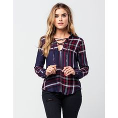 Polly & Esther Plaid Twill Womens Top ($25) ❤ liked on Polyvore featuring tops, long tops, plaid top, tartan top, lace up front top and collar top