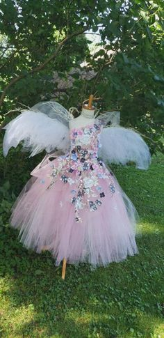 A Beautiful Flower Fairy Set Wings tutu and hair garland with daisy flower